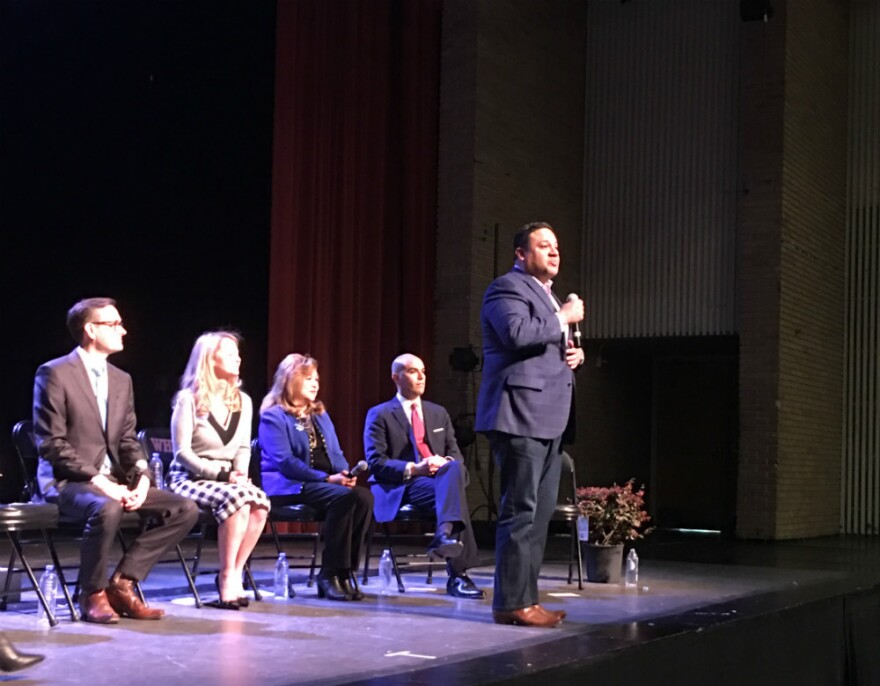 Former state Rep. Jason Villalba talks to the audience at a Dallas mayoral forum at the Scottish Rite Temple in March. Candidates discussed a variety of issues that especially affect people of color.