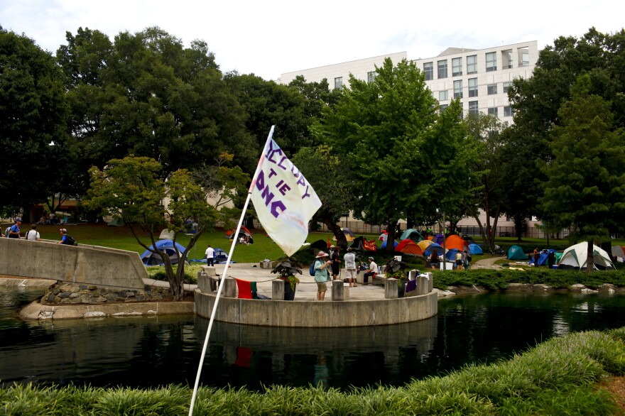 Occupy protesters have set up a  camp in Charlotte.