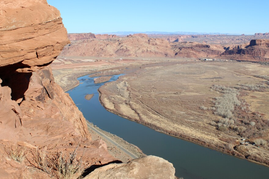 This stretch of the Colorado River near Moab, Utah is currently in extreme drought.