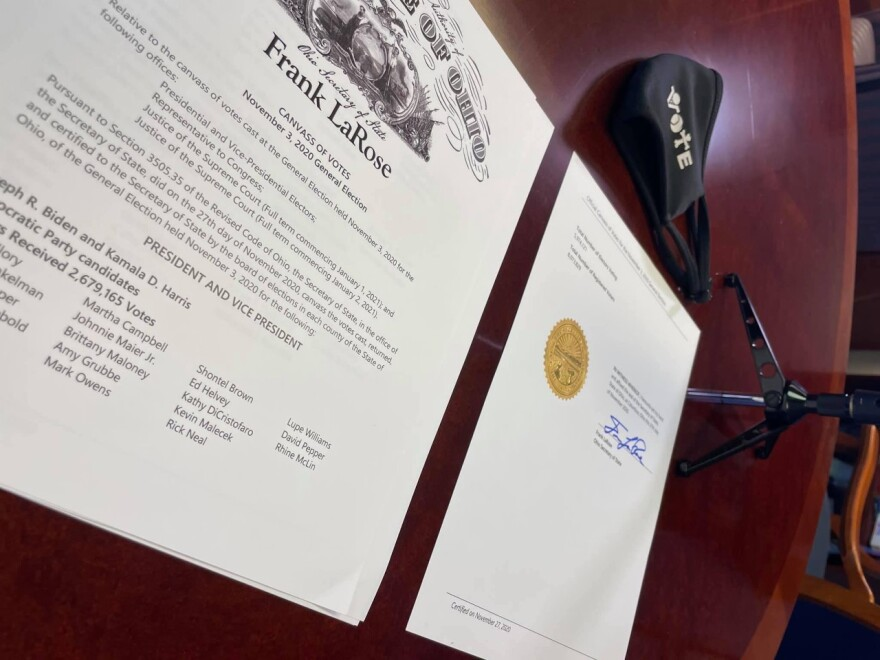 Secretary of State Frank LaRose signed the document certifying Ohio's 2020 election during a Facebook Live event.