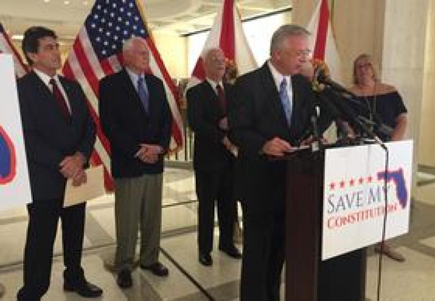 Former Lt. Governor Jeff Kottkamp, part of the coalition Save My Constitution, addresses media at the Capitol flanked by fellow former legislators on August 21, 2018.