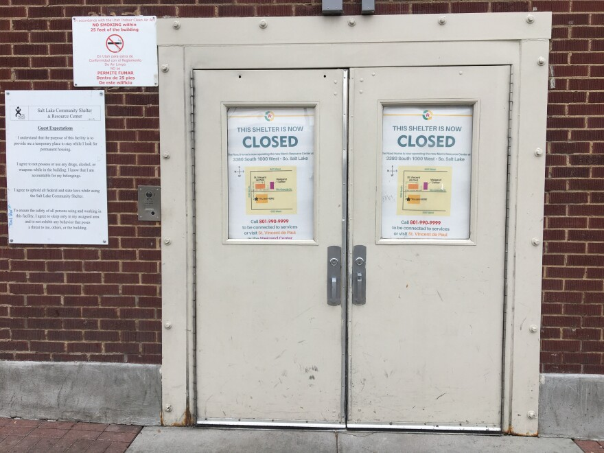 Photo of doors to the now closed Road Home shelter.