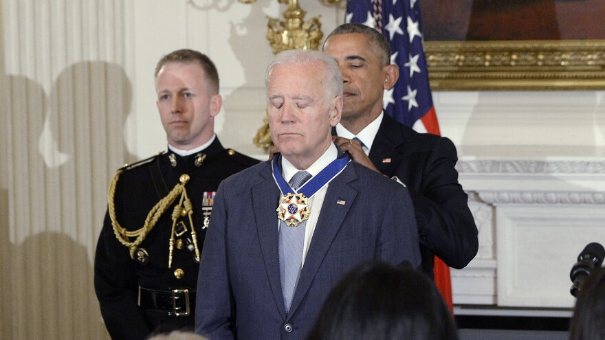 Then-President Obama awards the rare honor of the Medal of Freedom with distinction to then-Vice President Biden in January. It brought Biden to tears.