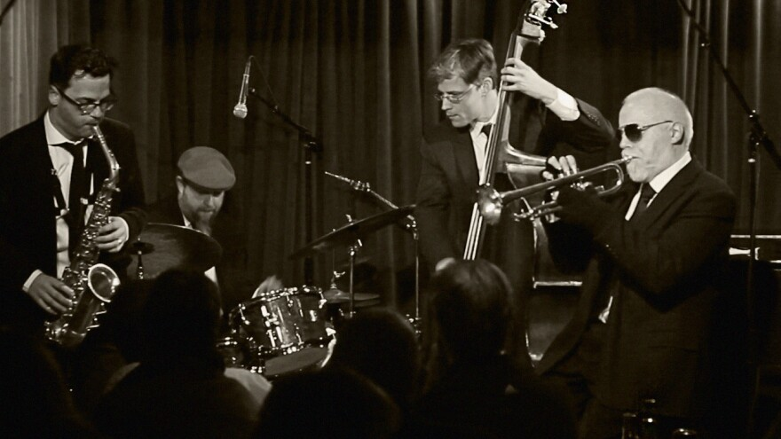 Trumpeter John McNeil rejoins Hush Point, a group of friends from New York's jazz scene, on the new album <em>Blues and Reds</em>. Left to right: Jeremy Udden, Anthony Pinciotti, Aryeh Kobrinsky, John McNeil.