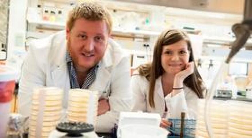 USF Associate Professor of Microbiology and Molecular Biology Lindsey Shaw and microbiology graduate student Whittney Burda.
