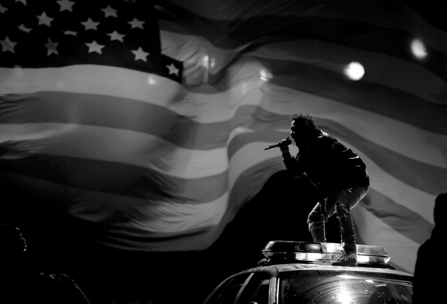 Kendrick Lamar performs at the 2015 BET Awards in Los Angeles.