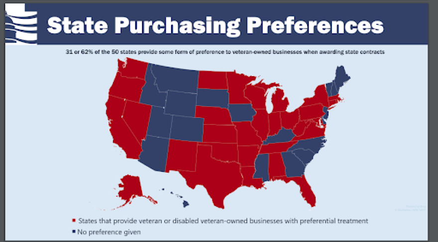 Map showing 19 states that do not provide preference (MT, ID, WY, CO, UT, NM, SD, IA, KY, MS, HI, GA, SC, NC, NJ, VT, NH, ME).