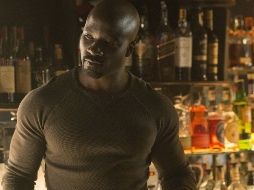 Audiences first saw the indestructible Luke Cage — played by Mike Colter — in <em>Jessica Jones</em>. His solo debut comes later this year.