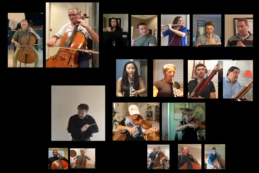 orchestra members perform separately on video