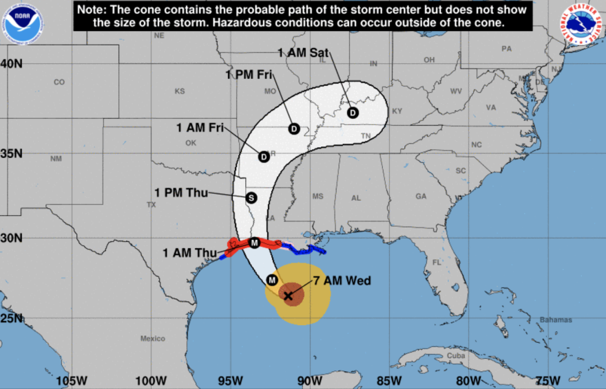 The projected path of Hurricane Laura has it hitting the Texas-Louisiana border overnight Wednesday.