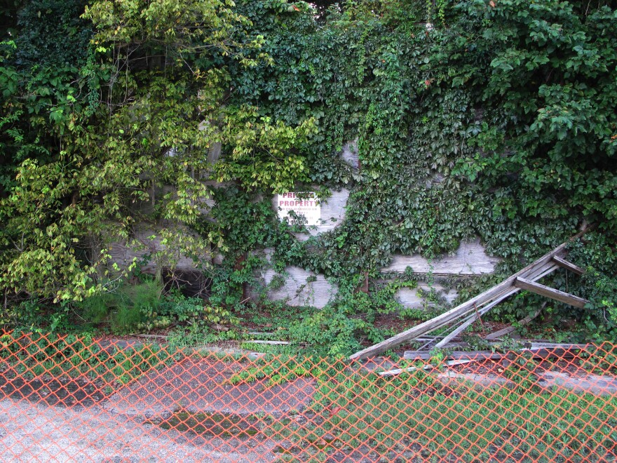 """The Bryant's Grocery building is in ruins, overtaken by trees and vines. A """"private property"""" sign posted out front is barely visible."""