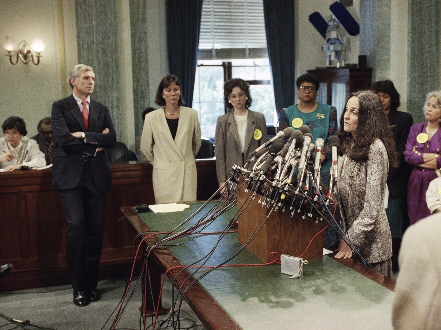 Pamela Talkin, seen here in October 1991, retired last week as the Supreme Court's first female marshal. Also retiring is Christine Luchok Fallon, the first woman to hold the position of reporter of decisions.