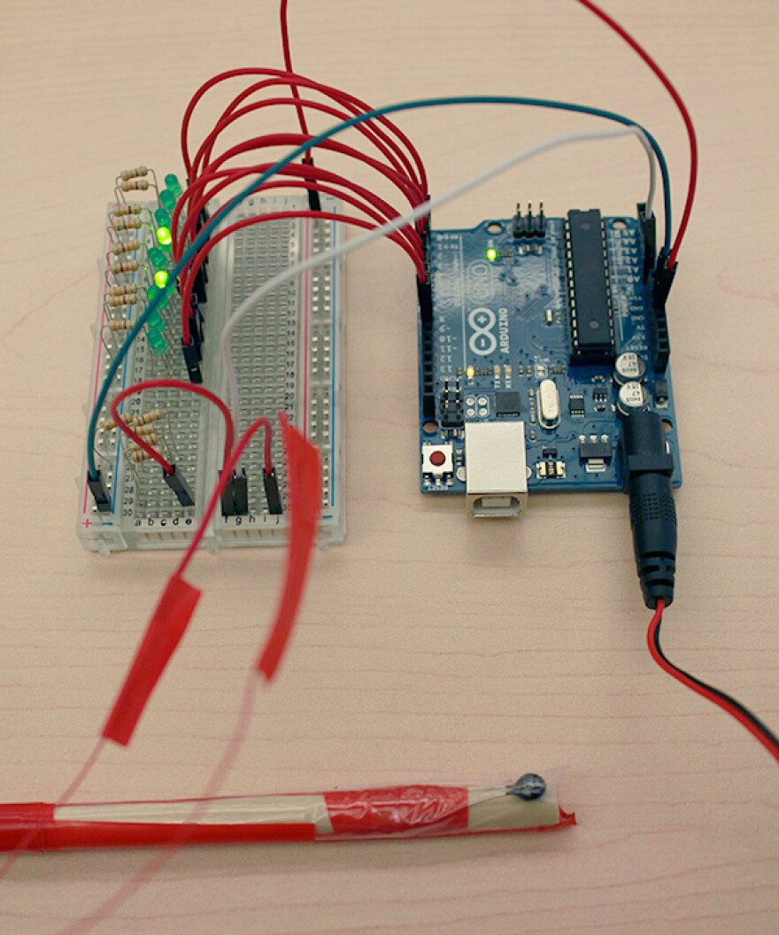 """WNYC is asking """"armchair scientists, lovers of nature and DIY makers"""" to help predict the emergency of cicadas in the Northeast by building a temperature sensor like this one. As the results come in, WNYC will map out the findings and share them online."""