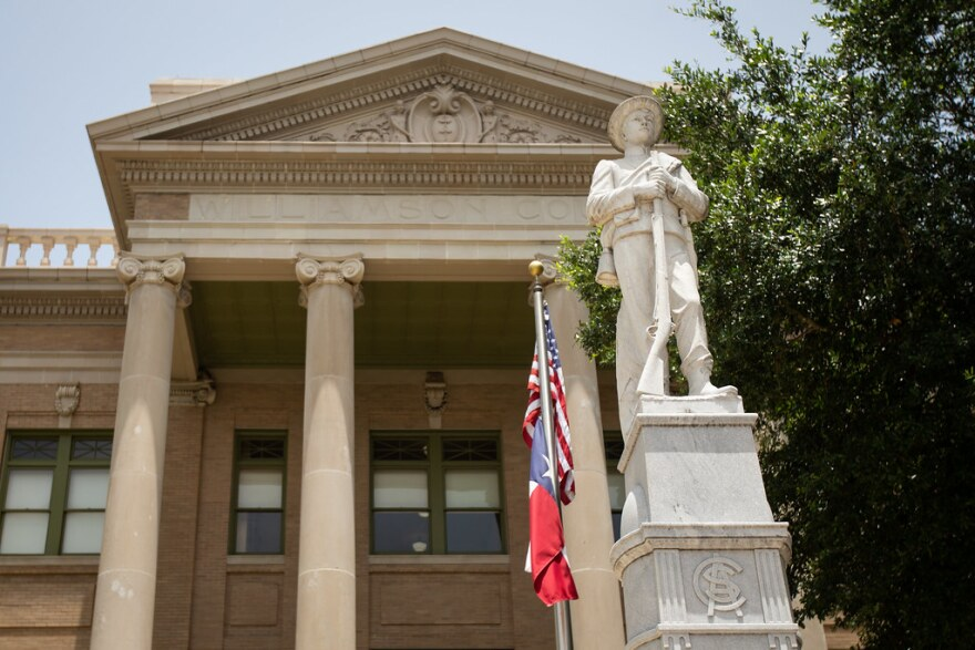 The Confederate Soldiers and Sailors Monument sits outside the Williamson County Courthouse in Georgetown.