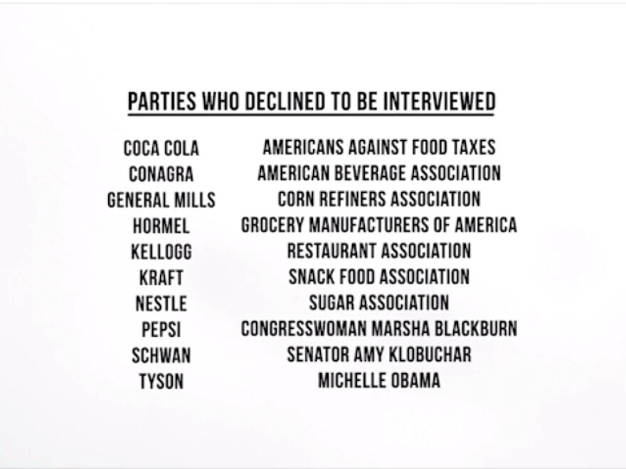 A list of individuals and organizations who declined to be interviewed by the filmmakers of Fed Up.