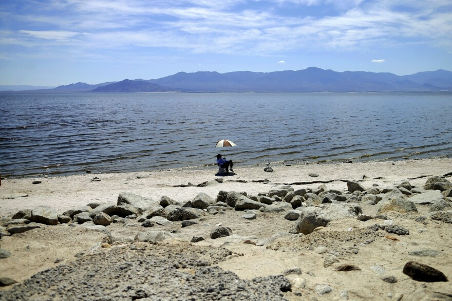 A man fishes for tilapia along the receding banks of the Salton Sea near Bombay Beach, Calif., April 30, 2015. (Gregory Bull, File/AP)