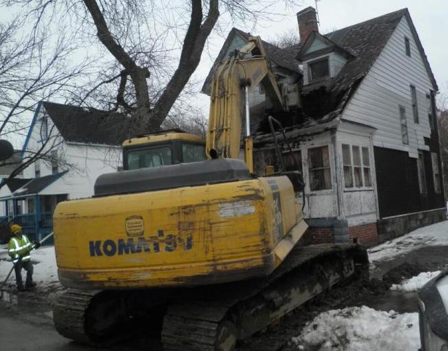 Picture of a vacant home being razed in Cleveland