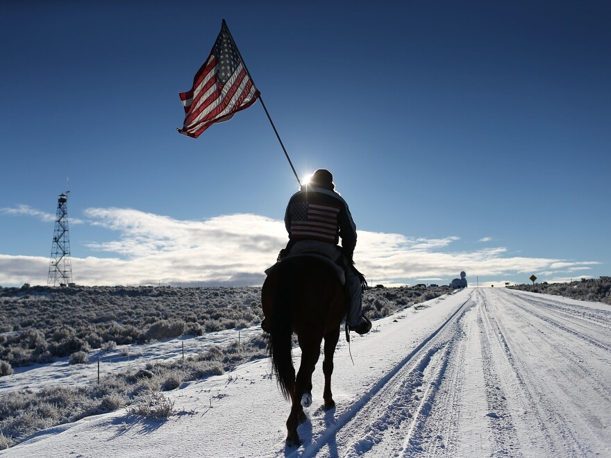 Duane Ehmer rides at the occupied Malheur National Wildlife Refuge on Jan. 15 near Burns, Ore.