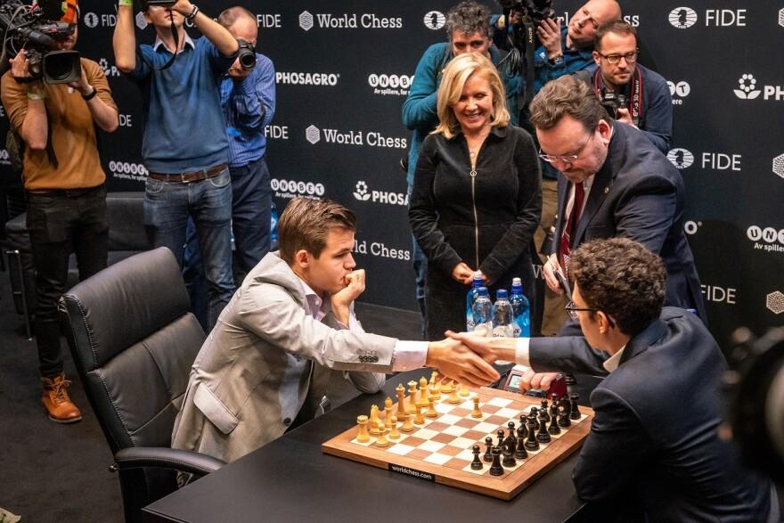 St. Louis grandmaster Fabiano Caruana, right, fell to Norwegian grandmaster Magnus Carlsen in the World Chess Championships in November 2018.