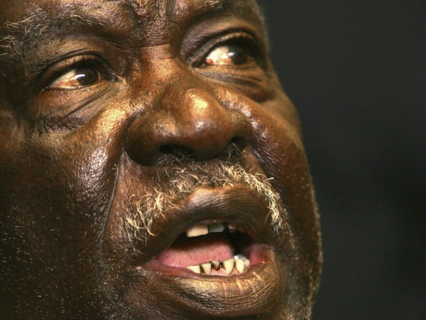 Zambia's then-opposition leader Michael Sata speaks to journalists during a news conference in Lusaka in 2006. Sata, who became president in 2011, died while being treated for an undisclosed illness in London.