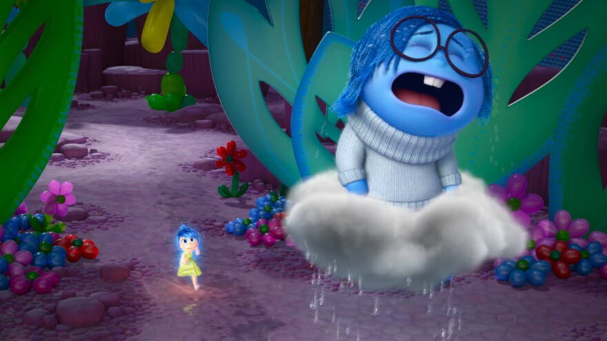 """[Sadness is] such a funny opposite energy to Joy, who is literally jumping up and down,"" Poehler says. ""And Sadness just wants to lie down and kind of feel her feelings."" Poehler plays Joy (left) and Phyllis Smith plays Sadness in the new film <em>Inside Out.</em>"