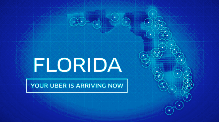 An Uber graphic touting their new expansion through Florida.