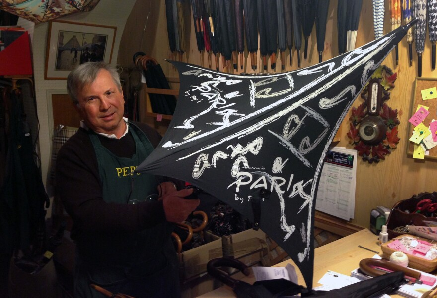 Millet says he is the last umbrella repairman in Paris, and his shop has been designated a living heritage company by the French government. He says he repairs about 10,000 umbrellas a year.