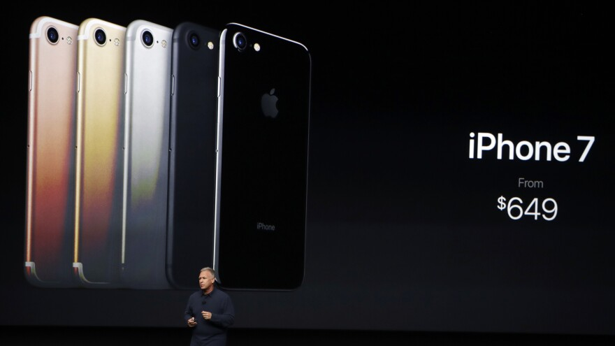 Phil Schiller, Apple's senior vice president of worldwide marketing, talks about the new iPhone 7 during an event to announce new products Wednesday in San Francisco.
