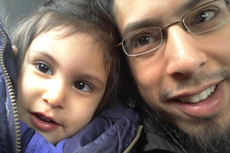 "Danisch Farooqi with his daughter, Aaliya, in Hamburg, Germany, when she was around 2 years old. ""I haven't seen her in five years,"" he says. He wonders if she has forgotten him."