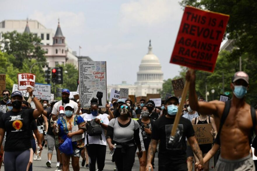 A group of protesters march in Washington, D.C.