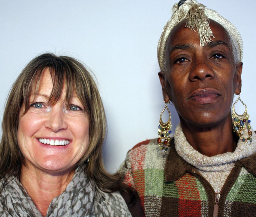 Queen Jackson, right, and her case manager, Debra MacKillop, visited StoryCorps in Denver, Colorado.
