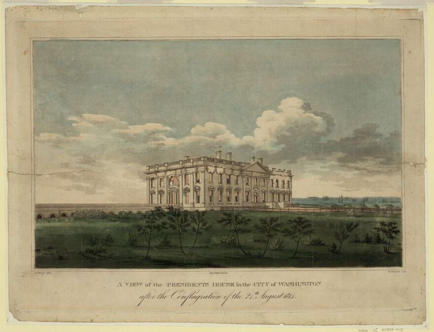 Print shows a view from northeast of the fire-damaged White House, a result of the War of 1812.