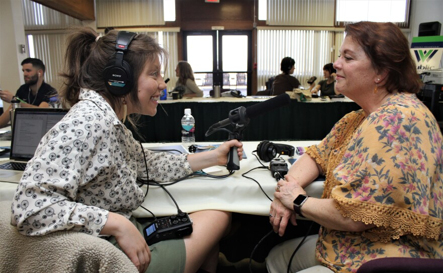 Inside Appalachia folkways reporter, Caitlin Tan, interviews Folkways Corps Reporter Heather Niday during an exercise at an Inside Appalachia Folkways Reporting Project training in 2019.