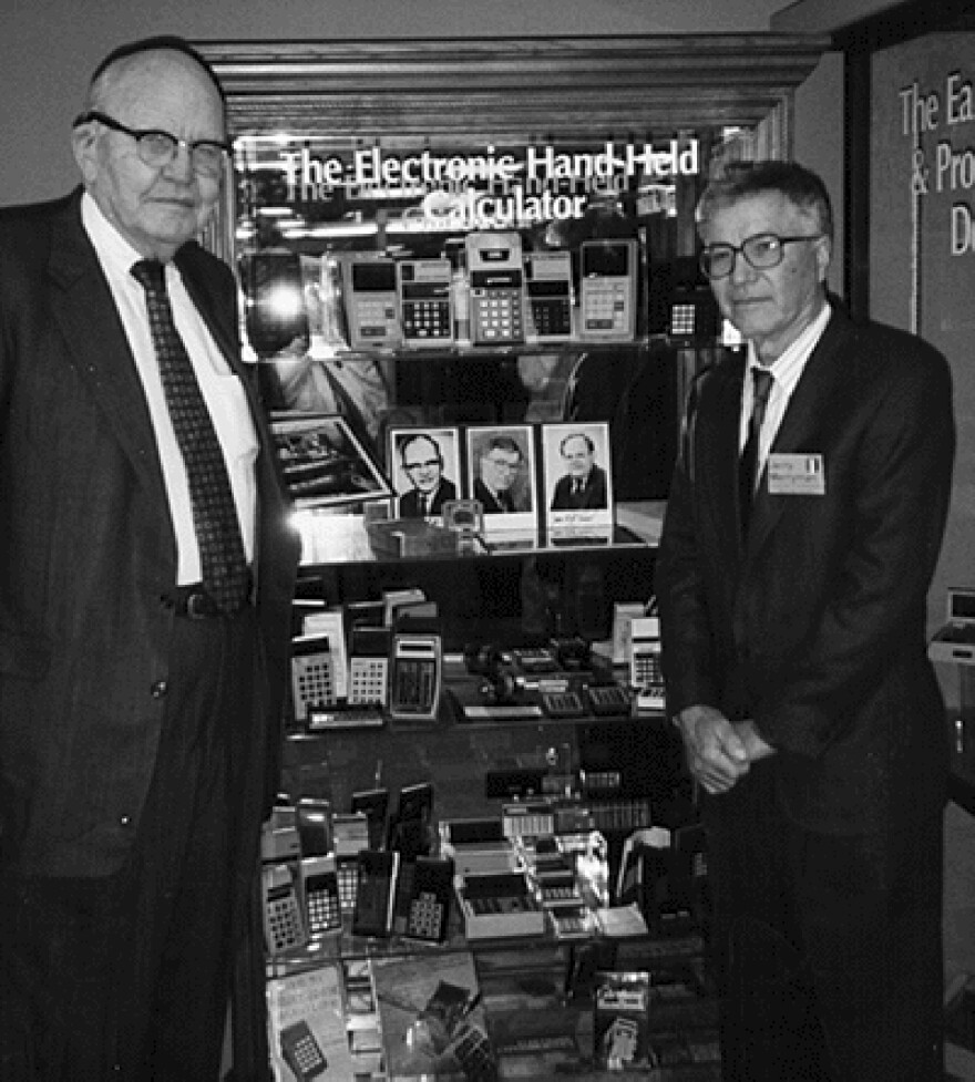This 1997 photo taken by Phyllis Merryman shows Jack Kilby and Jerry Merryman, right, at the American Computer Museum in Montana. Kilby, Merryman and James Van Tassel are credited with inventing the handheld calculator at Dallas' Texas Instruments.
