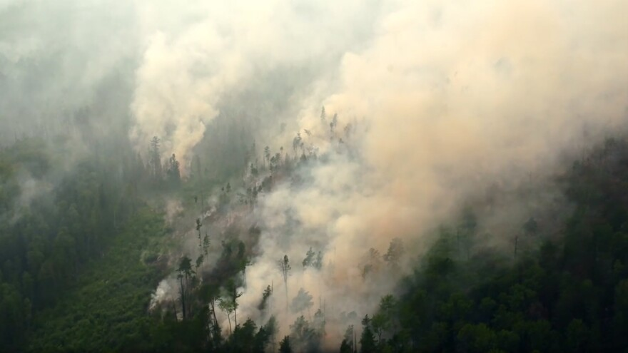 An aerial view of a forest fire in Russia's Krasnoyarsk Territory.