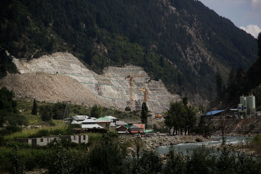 A hydropower dam under construction in the northern province of Khyber Pakhtunkhwa. The Chinese government is financing the dam and it is being supervised by Chinese workers.