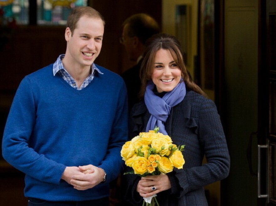 Britain's Prince William, the Duke of Cambridge, and his wife Catherine, Duchess of Cambridge, as she was released from King Edward VII hospital in central London earlier today.