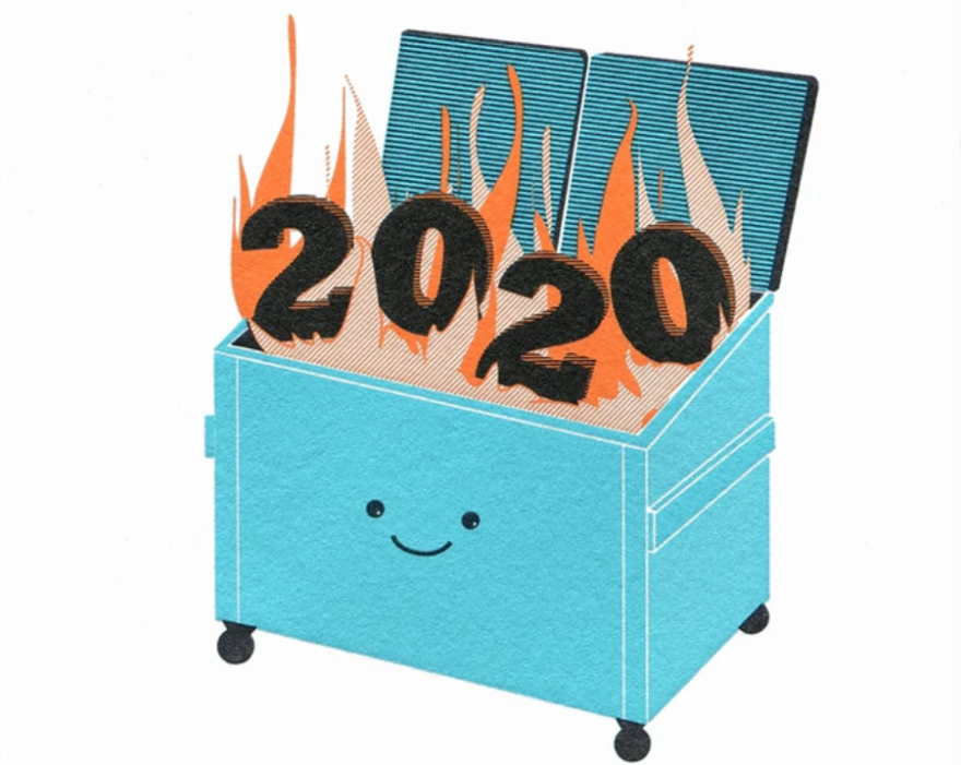 """""""Dumpster Fire 2020,"""" a greeting card from McBitterson's, is one of the several blunt seasonal options offered by Chandra Greer's stationery shop."""