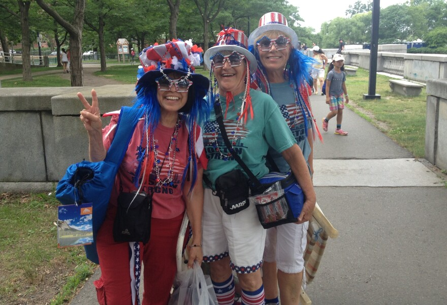 Mary Ann Rollings (from left), Gloria Kelley and Linda Lee Stacy were bursting in red, white and blue as they turned out to hear their beloved Boston Pops.