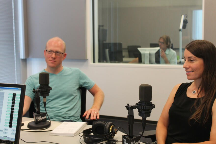 Alex Ihnen (left) and Mary Ostafi (right) joined host Don Marsh in studio.