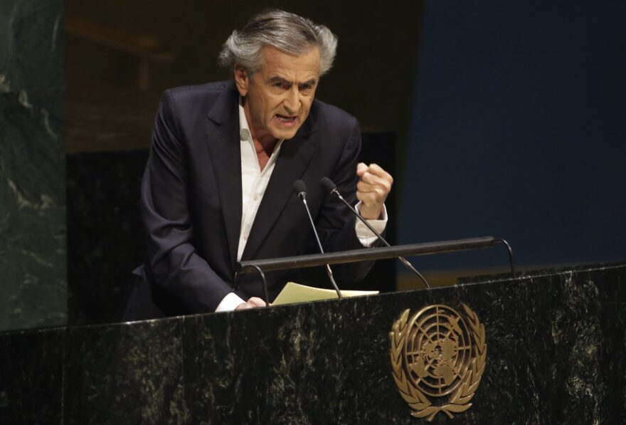 French philosopher and writer Bernard-Henri Lévy addresses the United Nations General Assembly on Jan. 22, 2015. (Richard Drew/AP)