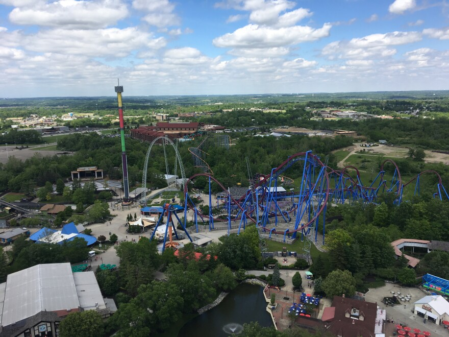 The view fron Kings Island Tower, a replica of the Eiffel Tower, in May 2019.