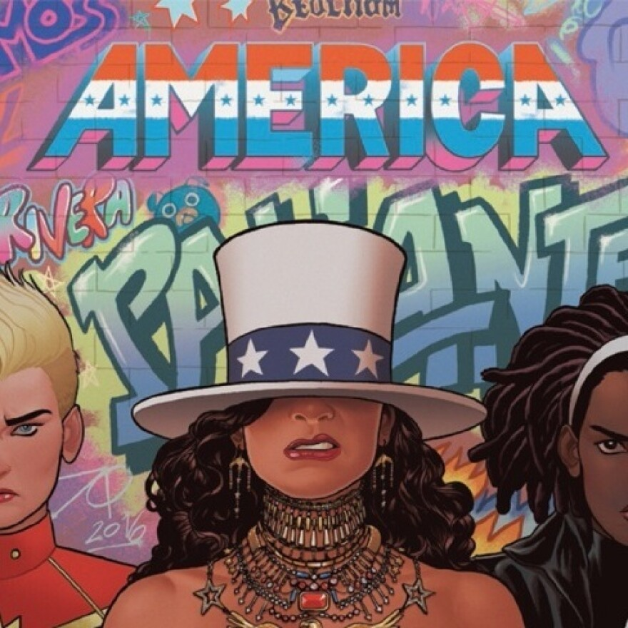 Detail of cover of <em>America #2</em>, by Gabby Rivera and Joe Quinones, starring America Chavez, Marvel's lesbian Latina superhero.