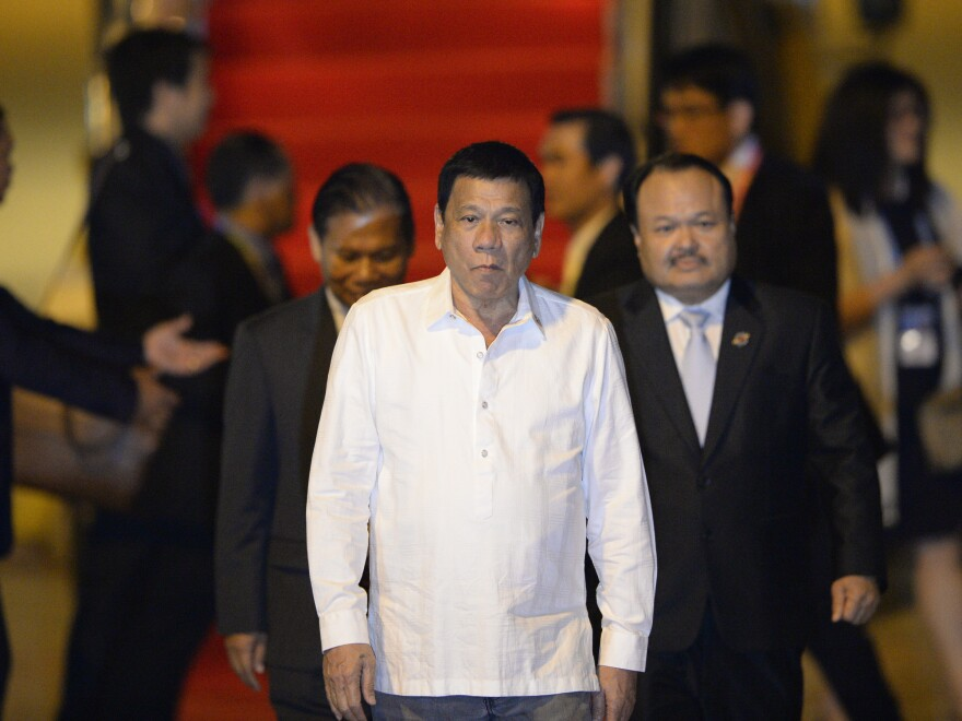 Philippine President Rodrigo Duterte arrives Monday in Vientiane, Laos, for the ASEAN Summit. The U.S. canceled a bilateral meeting scheduled for Dutarte and President Obama.