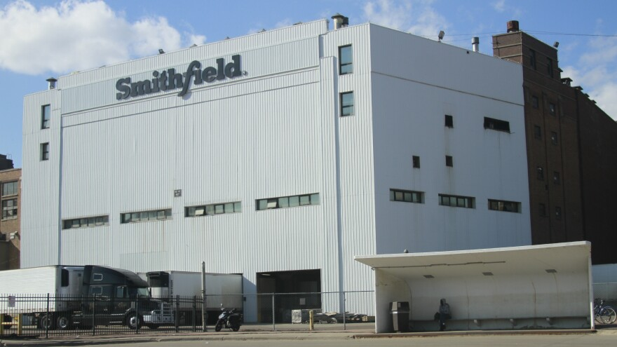 The Smithfield pork processing plant in Sioux Falls, S.D., is seen on April 8. More than 600 employees have tested positive for the coronavirus.