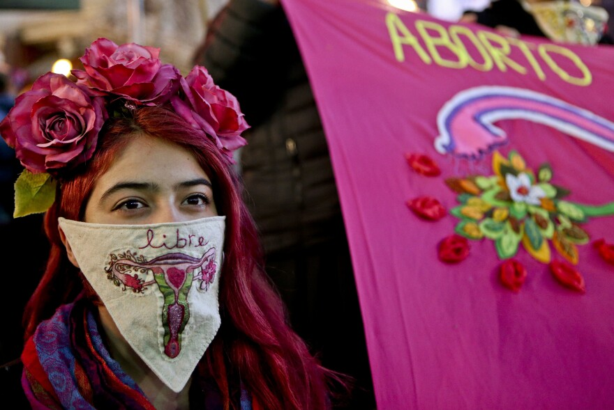 """During a march last month in favor of President Michelle Bachelet's bill, a demonstrator displays a handkerchief with an embroidered image of a uterus and the word """"free"""" in Spanish."""