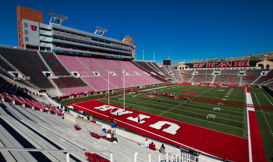 A photo of the inside of Rice Eccles Stadium.