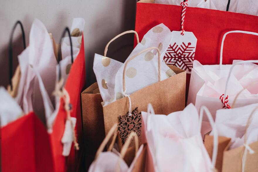 holiday shopping bags stock
