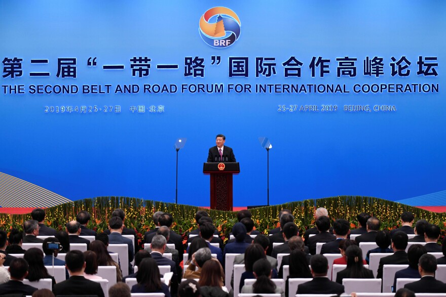 China's President Xi Jinping speaks at a press briefing at the end of the final day of the Belt and Road Forum on Saturday.