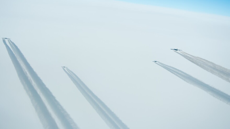 Four B-52 Stratofortresses deployed from Barksdale Air Force Base, La., fly a sortie over Norway on March 28. Bombers like these flew from Greenland during the Cold War.